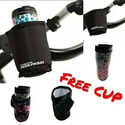 Cup Holder Insulated Universal Buggy/Stroller Cup Bottle Holder + FREE CUP • 9.99£