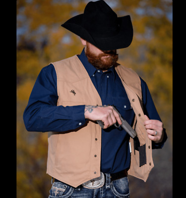 $63.95 • Buy Wyoming Traders Mens Texas Conceal Carry Snap Up Canvas Ranch Wear Vest