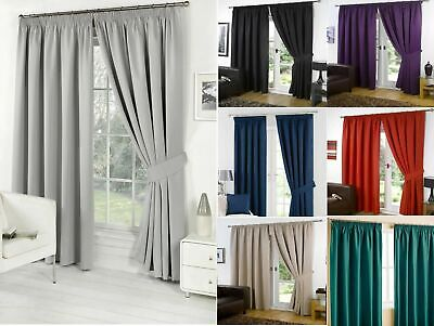 Thermal Blackout Pencil Pleat Ready Made Curtains Pair Tape Top + Free Tie Backs • 17.99£