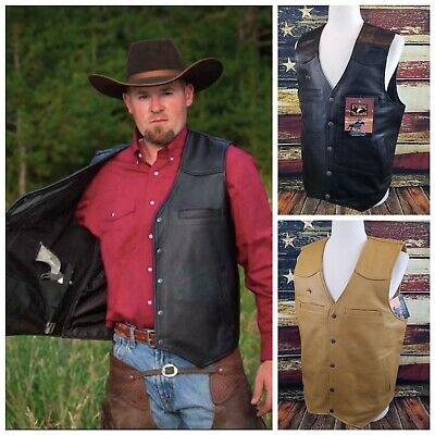 $141.95 • Buy Wyoming Traders Mens Drover Snap Up Leather Conceal Carry Ranch Wear Cowboy Vest