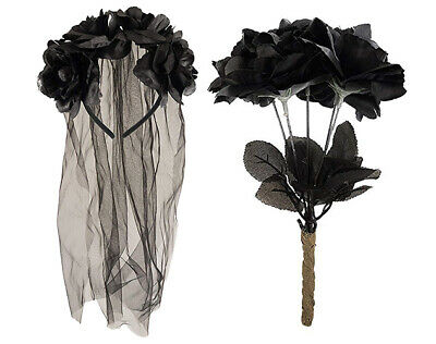 Zombie Corpse Bride Set Veil Headband & Black Dead Roses Halloween Fancy Dress • 4.90£