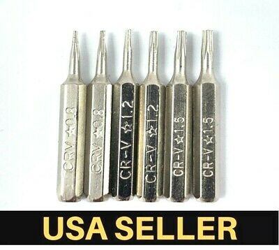 6 PCS Pentalobe Screwdriver Bits Set P2 P5 P6 5-Point 5-Star 0.8 Mm 1.2 1.5 Torx • 5.11£