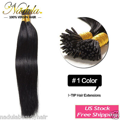 $34.48 • Buy 100s 100g Keratin Stick I Tip Pre Bonded Straight Human Hair Extensions 18  #1