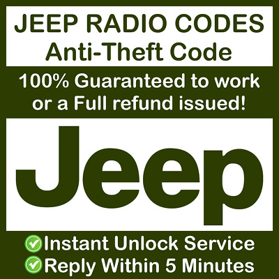 $11.04 • Buy JEEP RADIO CODE Unlock Grand Cherokee CJ Wrangler Compass Renegade Patriot ✅
