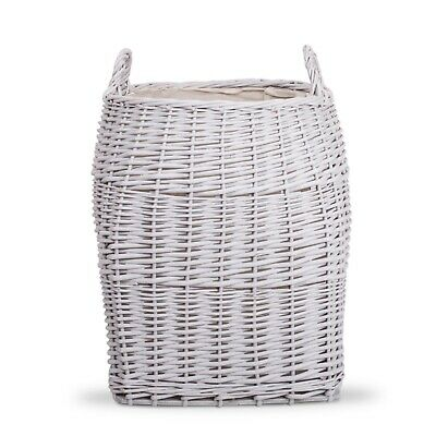 Wickerfield Light Grey Chunky Wicker Laundry Basket Log Basket With Liner • 22.99£