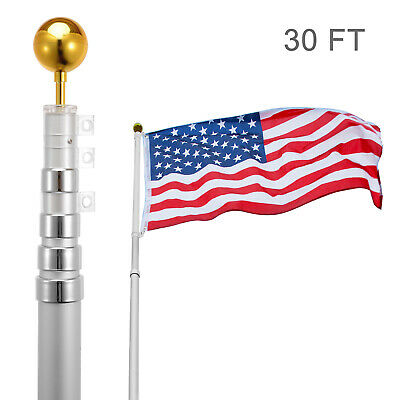 30FT Flag Pole Telescopic Aluminum Flagpole Gold Ball Kit Fly 2 Flags Adjust USA • 68.99$