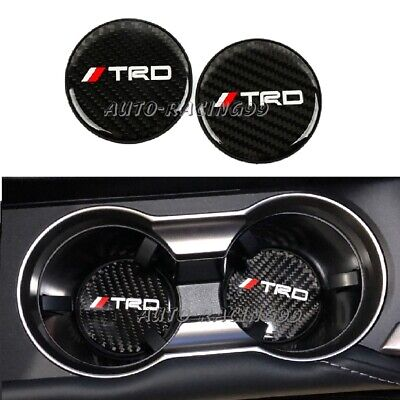 $13.88 • Buy 2Pcs TRD Carbon Fiber Car Cup Holder Pad Water Cup Slot Non-Slip Mat Accessories