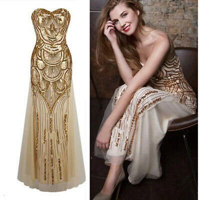 1920's Flapper Dress Charleston 1930's Gatsby Sequin Cocktail Long Ball Gowns • 19.90£