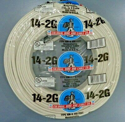 "14/2 Romex Indoor Electrical Copper Wire Cable W Ground 14-2 AWG Guage NM-B 250"" • 41$"