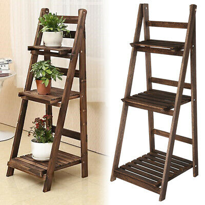 3 Tier Wooden Ladder Shelf Display Stand Unit Home Plant Flower Book Shelves • 19.59£