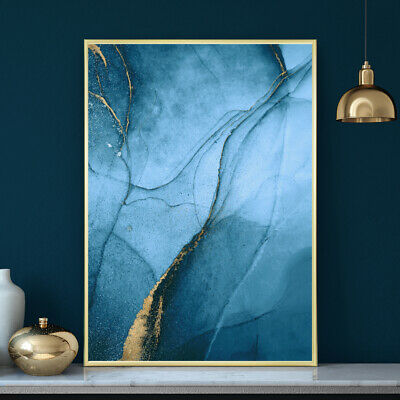 Blue And Gold Minimalist Watercolour Painting Wall Art Print Poster A4 A3 A2 A1 • 9.99£