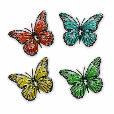 Set Of 4 Metal Butterfly Wall Art Garden Ornaments - Small Multicoloured  • 8.90£