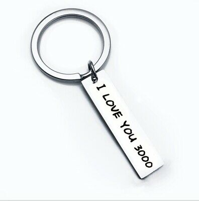 £2.99 • Buy Cute I Love You 3000 Key Chain Couple Stainless Steel Keyring Keyfob Lover Gift