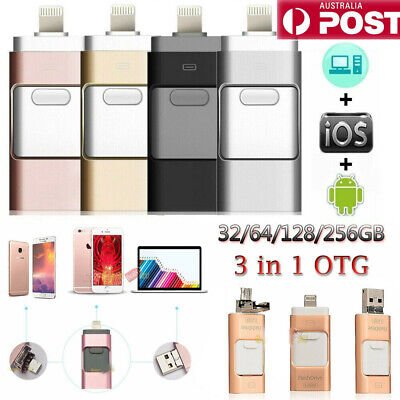 AU23.99 • Buy USB I Flash Drive Disk Storage Memory Stick For IPhone PC IOS IPad Android 256GB