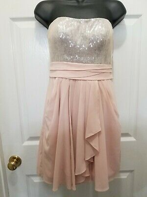 $30 • Buy Aidan Mattox Womenspink Short Sequin Dress  With Pockets Size 0 Hoco Homecoming