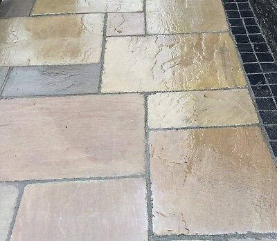 RAJ GREEN TUMBLED Natural Indian Sandstone Paving Stone Calibrated YORKSHIRE  • 23£