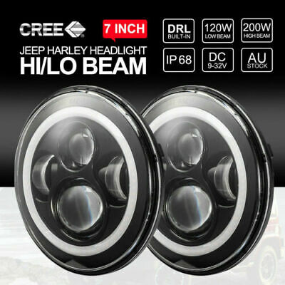 AU67.99 • Buy 7 Inch Round LED Headlights Hi-Lo  Angel Eyes Turn Light For GQ PATROL 2Pcs