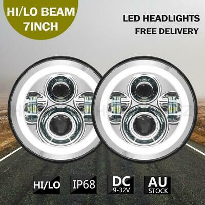 AU72.89 • Buy 2x 7inch DOT Round LED Headlight Hi/Lo Beam  Angle Eyes For Jeep Wrangler JK