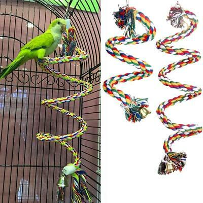 Pet Bird Parrot Rope Parakeet Conure Cage Standing Perch Chew Peck Toys Top • 2.69£
