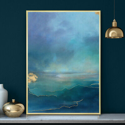 Blue And Gold Sea Sky Watercolour Painting Wall Art Print Poster A4 A3 A2 A1 • 9.99£