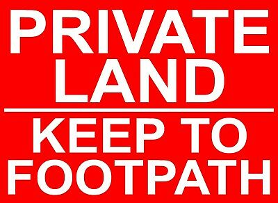 PRIVATE LAND KEEP TO FOOTPATH Metal SIGN / NOTICE Keep Out Property Farm Garden  • 6.99£