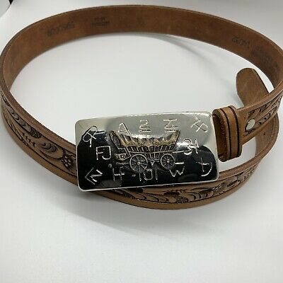 $22 • Buy Childs Western Genuine Leather Belt 24-26 Medium, Chuck Wagon And Brands Buckle