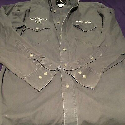 $8.50 • Buy Jack Daniels Wrangler Embroidered Button Long Sleeve Grey Shirt Small