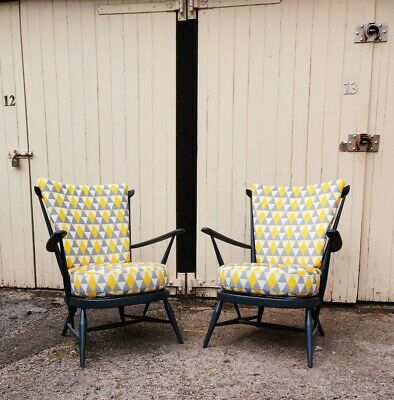 Pair Of Vintage Ercol Windsor Easy Armchairs No. 359 - Refurbished Reupholstered • 695£