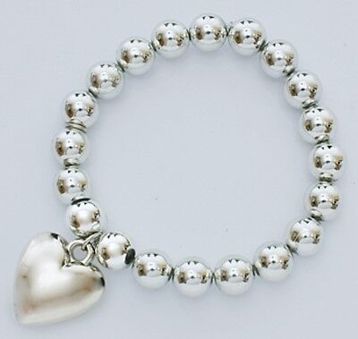 Silver Colour Ball Stretch Bracelet With Heart Pendant • 1.55£