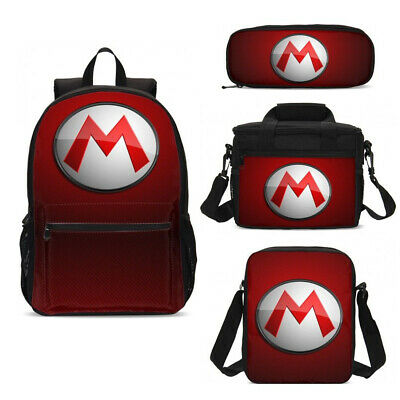 Super Mario Kids Boys Teens School Backpack Insulated Lunch Bags Pencil Case LOT • 18.99£