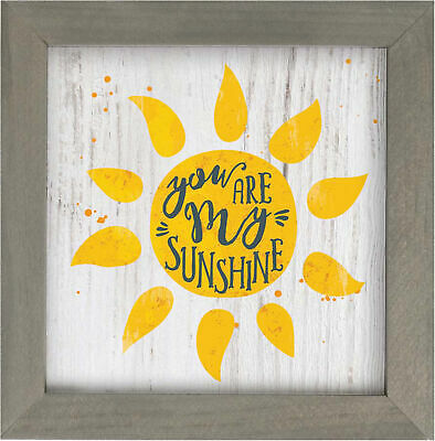 You Are My Sunshine Sunshine Yellow 7 X 7 Wood Decorative Framed Art Plaque • 13.62£