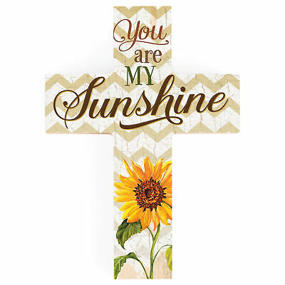 You Are My Sunshine Sunflower Chevron 7 X 5 Wood Wall Art Cross Plaque • 9.70£