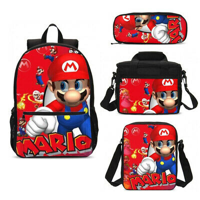 Super Mario Kids Boys  Large School Backpack Insulated Lunch Bag Pencil Case LOT • 18.99£