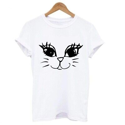 £8.75 • Buy Womens Cute Cat Face T-shirt Size S To 2XL, Harajuku, Kawaii, UK Seller, BNWT