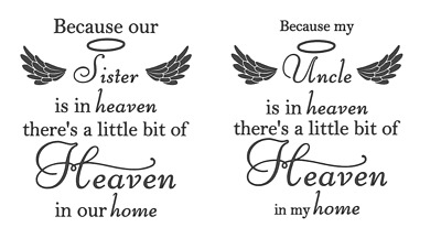 £3.49 • Buy Vinyl Quote Phrase Because My DAD/MUM Is In Heaven Sticker Decal 15.5cm X 18cm