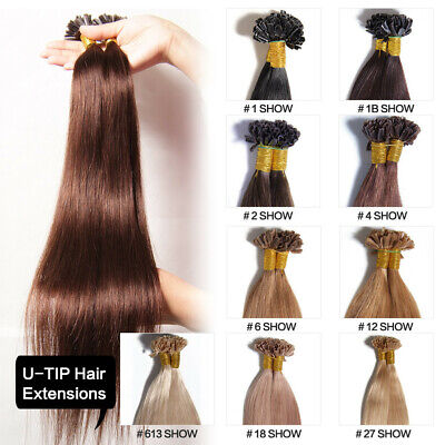100s 18  Pre Bonded U Tip Keratin Straight Remy Human Hair Extensions 50g/100g • 50.46$