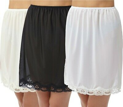 £6.89 • Buy Half Slip 18 Inch Cling Resistant Waist Slips With Lace Black Ivory White 12-26