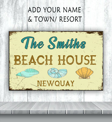 PERSONALISED BEACH HOUSE HUT SHED HOLIDAY SEASIDE HOME Metal Retro Sign RS260 • 11.95£