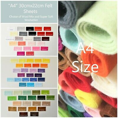 Wool Mix And Like Soft Feel Washable Felt | 70+ Colours | 30cmx22cm  A4  Size   • 1.46£