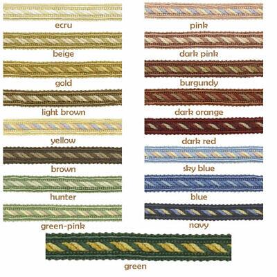 10mm Trim Braid Gimp - Upholstery Soft Furnishing Edging Lampshade Craft • 1.60£