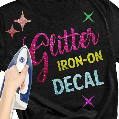 £3.45 • Buy Glitter Sparkle Letters Design Heat Transfer T-Shirt Iron-On Name Custom Decals