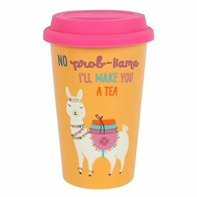 Llama Thermal Thermal Ceramic Travel Mug Double Walled With Silicone Lid  • 9.98£