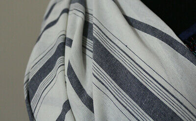 Irregular Stripe Linen Viscose Cotton Blend Dress Fabric Material (Denim Blue)  • 4.99£