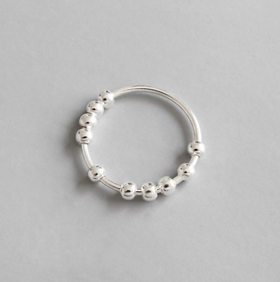 925 Sterling Silver Ball Spinning Ring | Fidget Rings Stacking Rings Size M 7 • 13.99£