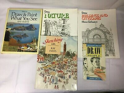 5x Drawing Books Draw People Sketching With Ray Evans Draw & Sketch What You See • 9.99£
