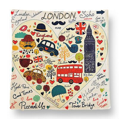 I Love London Themed Colourful Art Square Cushion Cover Home/Office/Sofa/Couch • 6.99£