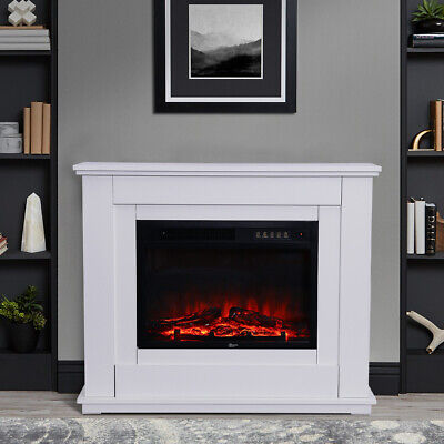 £229.95 • Buy White 1.8KW Electric Fire Inserted Fireplace Heater MDF Surround Suite Remote