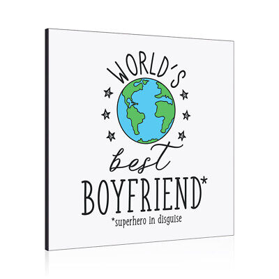 World's Best Boyfriend Wall Art Panel Frame Favourite Love Valentines Day • 19.99£