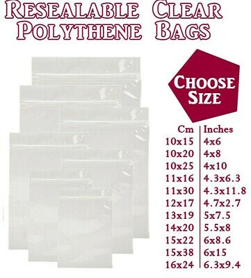 Grip Seal Zip Lock Polythene Self Resealable Clear Plastic Bags Small Med Large • 3.69£