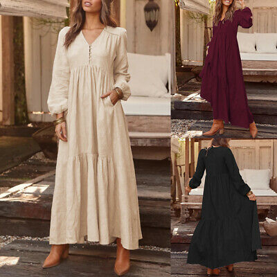 AU23.65 • Buy ZANZEA Women Summer Long Maxi Dress Tiered V Neck Cotton Plus Size Ladies Dress